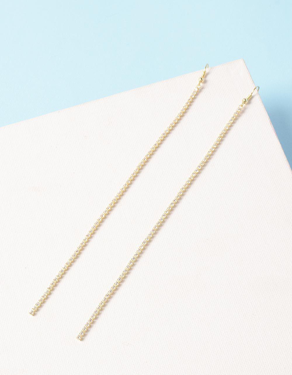 Сережки довгі з камінцями | 235328-08-XX