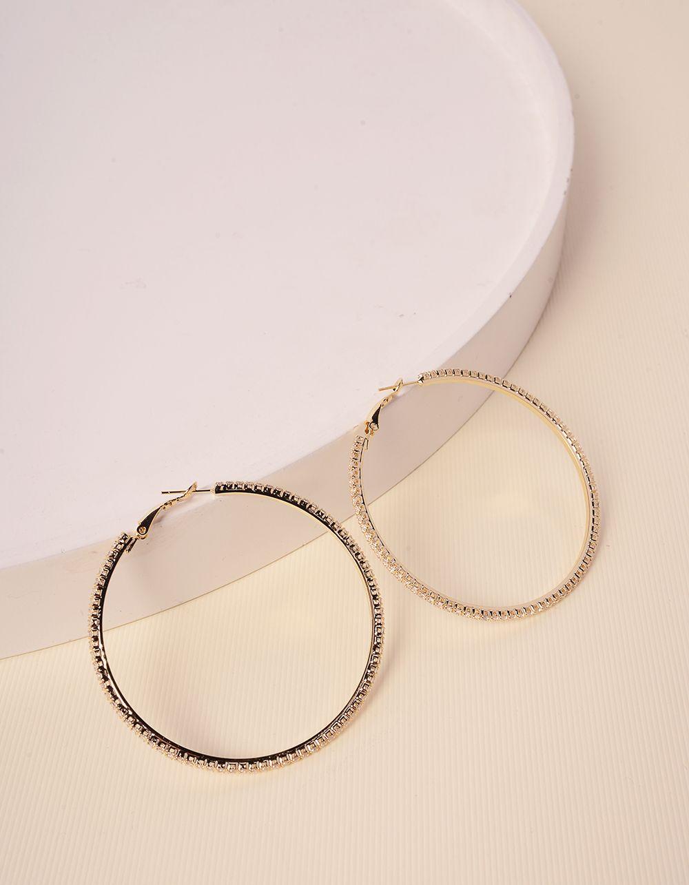 Сережки кільця зі стразами | 238629-08-XX