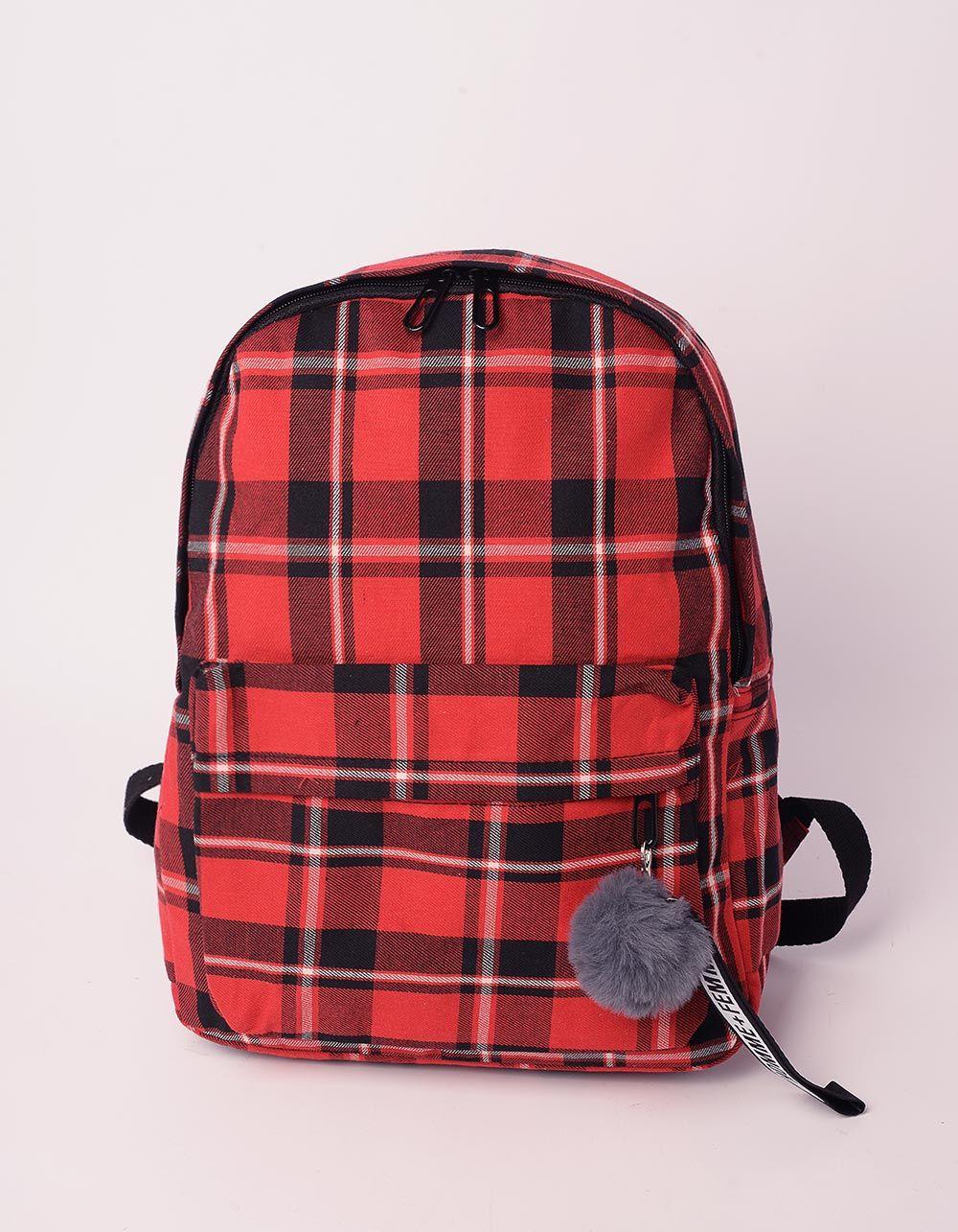 Рюкзак у клітинку з хутряним брелоком на кишені | 238481-15-XX