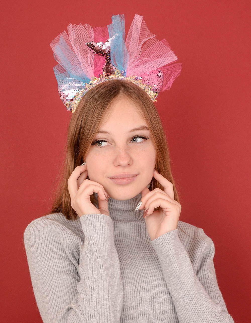 Обідок для волосся з хвостом русалки із паєток | 239236-14-XX