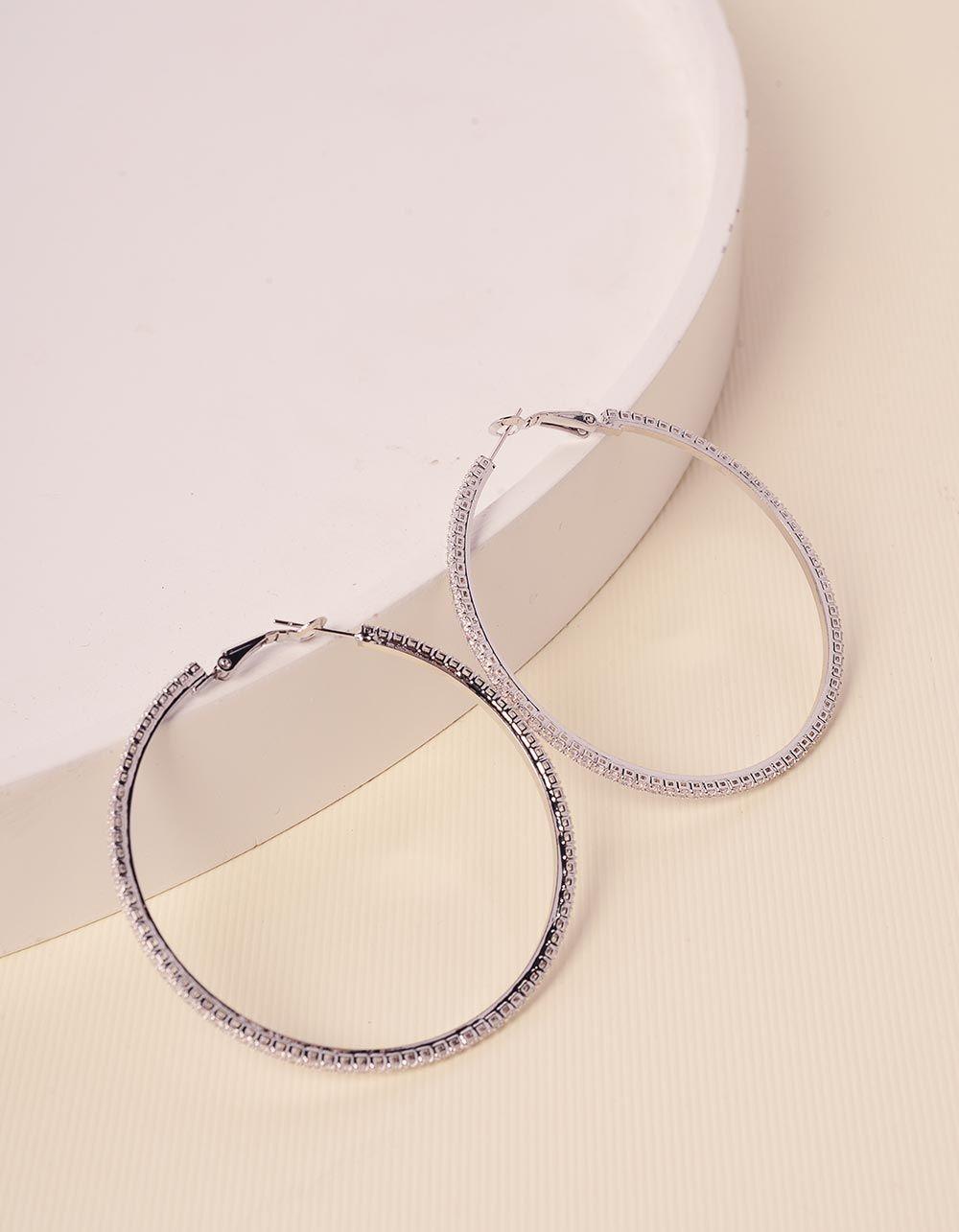 Сережки кільця зі стразами | 238629-06-XX