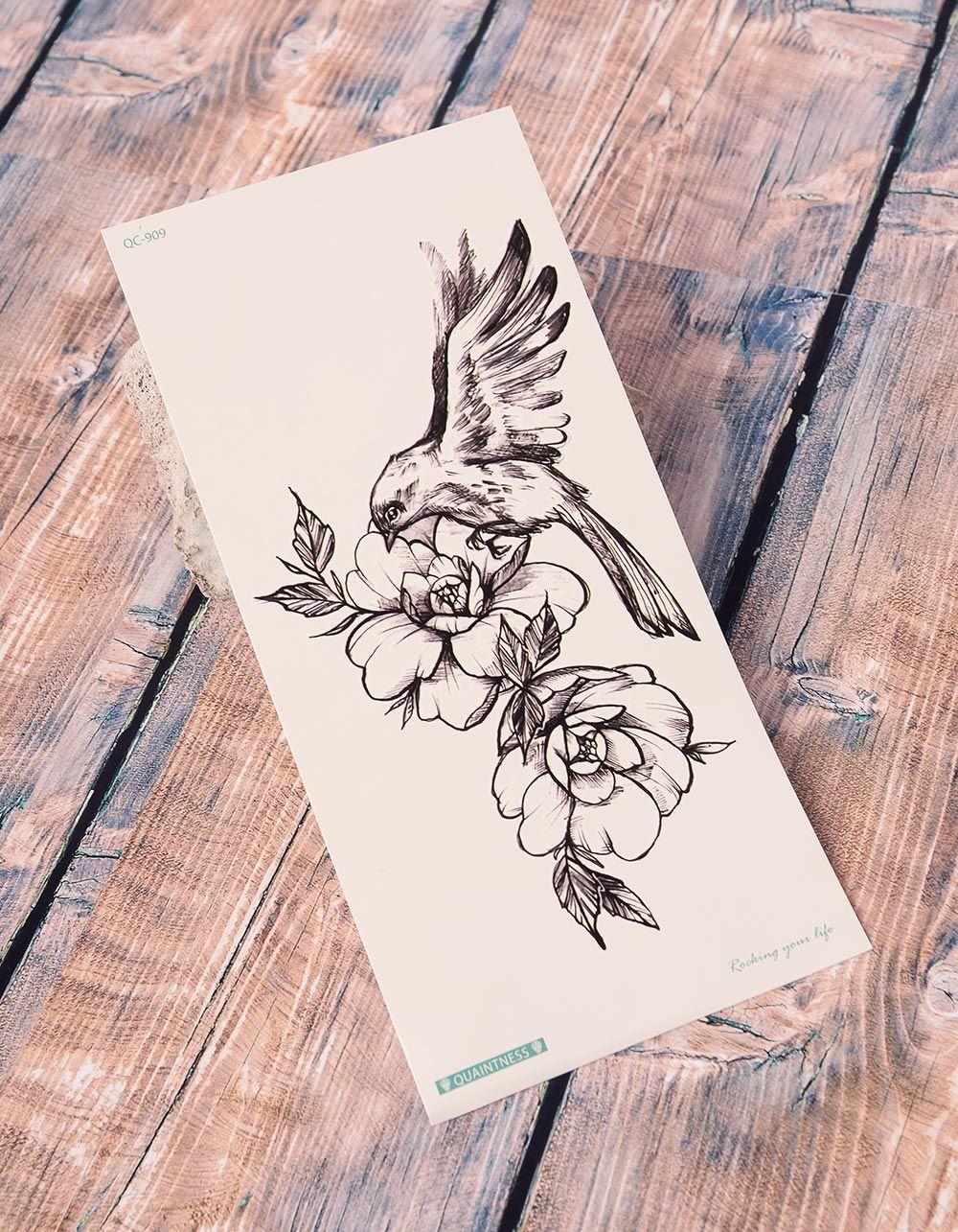 Тату тимчасове з птахом та квітами | 238222-02-XX