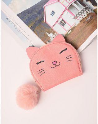 Гаманець з принтом кішки та хутряним брелоком | 238386-26-XX