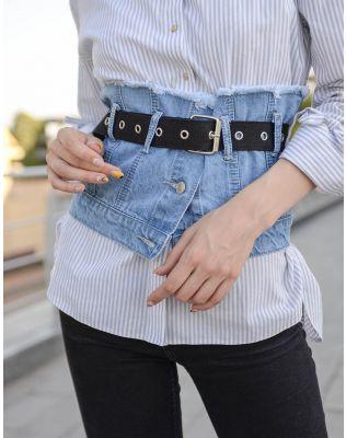 Ремінь широкий джинсовий | 237590-31-XX