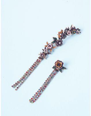 Сережки довгі з квітами та кольоровими камінцями | 236604-21-XX