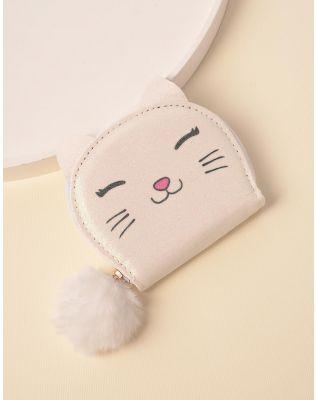Гаманець з принтом кішки та хутряним брелоком | 238386-01-XX