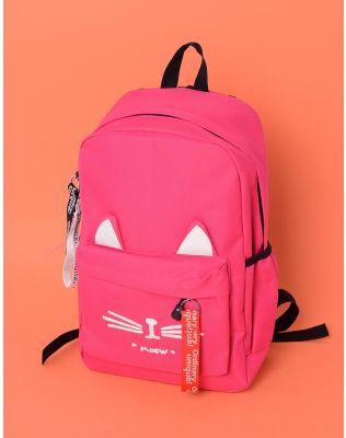 Рюкзак об ємний з малюнком кішки та вушками на кишені | 237949-17-XX