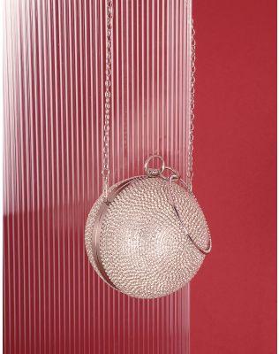 Сумка куля металева на ланцюжку декорована стразами | 239300-06-XX
