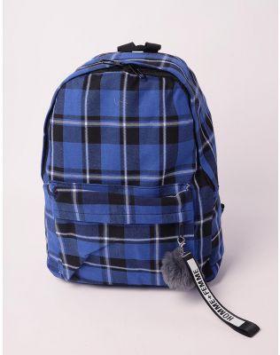 Рюкзак у клітинку з хутряним брелоком на кишені   238481-13-XX