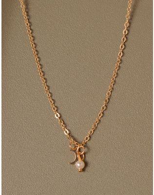 Підвіска з кулоном у вигляді напівмісяця та перлиною | 233348-04-XX