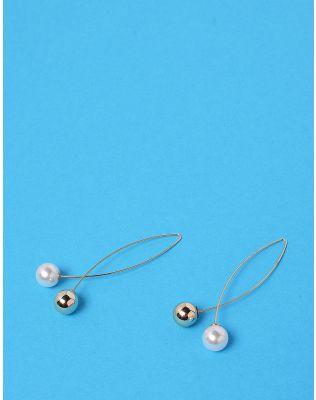 Сережки довгі з намистиною та перлиною | 232647-04-XX