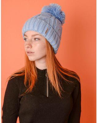 Шапка з бубоном та плетеними косами | 220239-18-XX