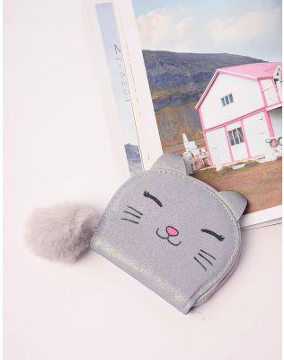 Гаманець з принтом кішки та хутряним брелоком | 238386-11-XX