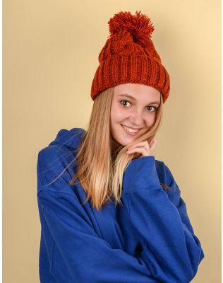 Шапка з бубоном та плетеними косами | 220239-43-XX