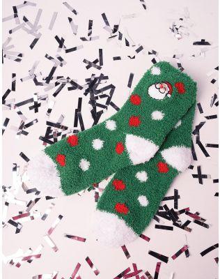 Шкарпетки теплі з новорічним принтом | 239519-20-XX