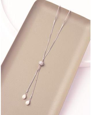 Підвіска довга з камінцями на кулі та перлинами | 239814-06-XX