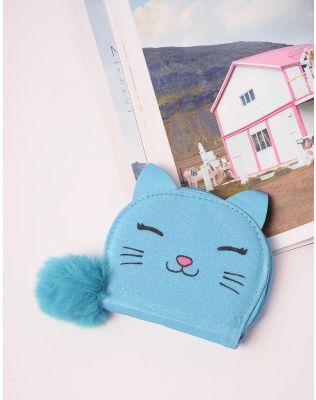 Гаманець з принтом кішки та хутряним брелоком | 238386-18-XX