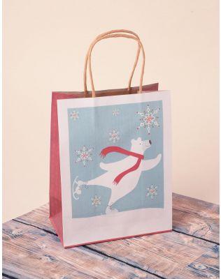 Пакет подарунковий з новорічним принтом | 240044-31-XX