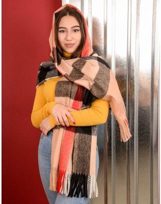 Шарф на пальто у клітинку з китицями | 239895-39-XX