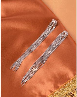 Сережки довгі з вузлом інкрустовані стразами | 240022-06-XX
