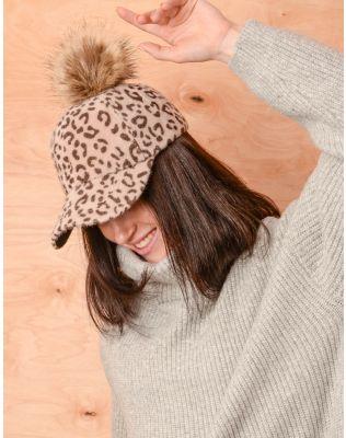 Кепка з помпоном та леопардовим принтом | 237277-39-XX