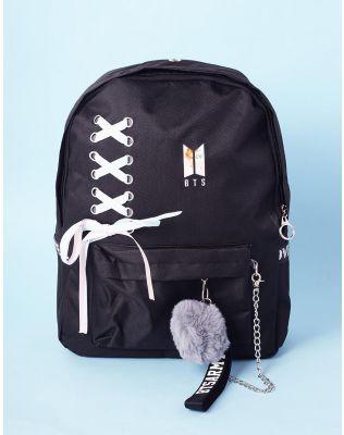 Рюкзак молодіжний bts з хутряним брелоком та шнурівкою | 236556-02-XX