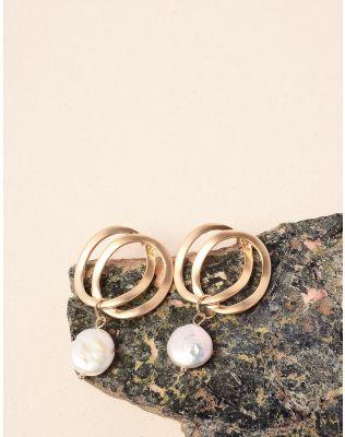 Сережки із кілець з перлинами | 237625-08-XX