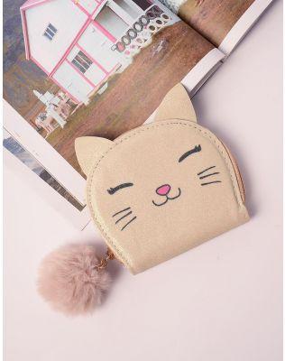 Гаманець з принтом кішки та хутряним брелоком | 238386-04-XX