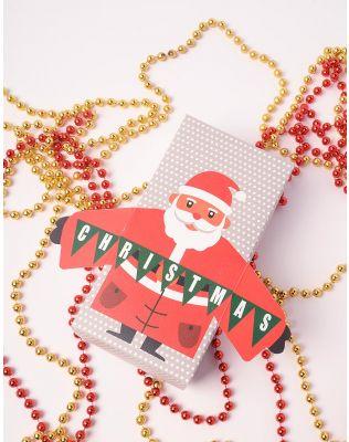 Коробка подарункова новорічна  з сантою | 240130-21-XX