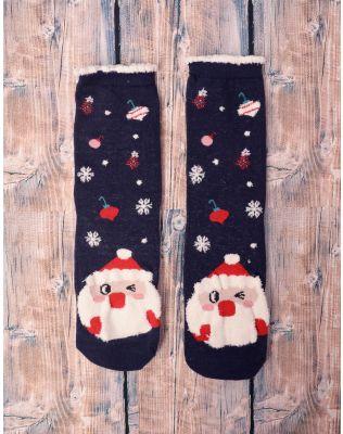 Шкарпетки теплі з новорічним принтом | 239518-13-XX