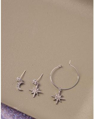 Сережки з кулонами у формі зірок та місяця | 238718-06-XX