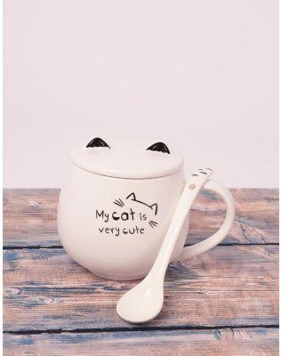 Чашка з ложкою та вушками на кришці   239025-22-XX