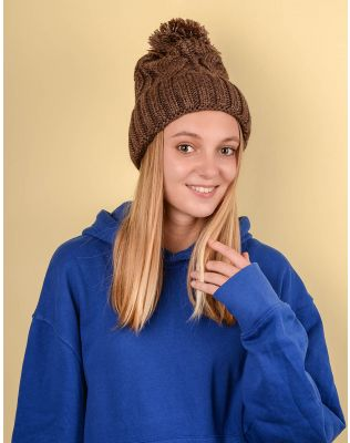 Шапка з бубоном та плетеними косами | 220239-12-XX