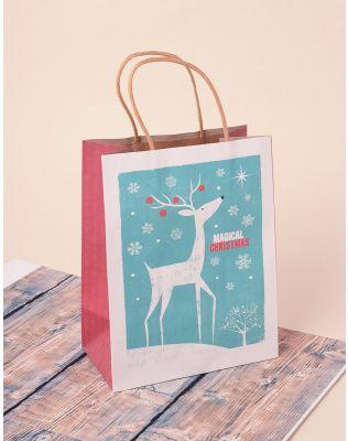 Пакет подарунковий з новорічним принтом | 240044-23-XX