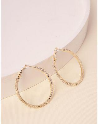 Сережки кільця декоровані стразами | 238642-08-XX