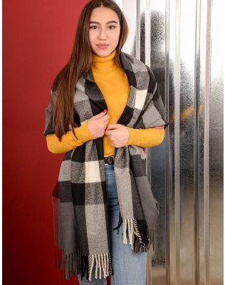 Шарф на пальто у клітинку з китицями | 239895-28-XX