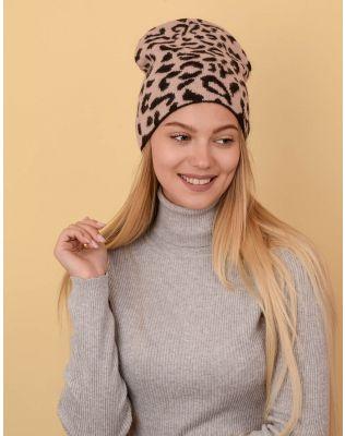Шапка ковпак з леопардовим принтом | 236878-39-XX
