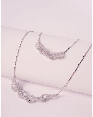 Підвіска на шию подвійна з кристалами у ювелірній сітці | 240187-05-XX