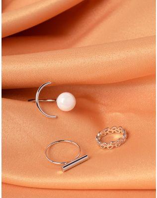 Кільця у наборі з перлиною | 239823-06-XX