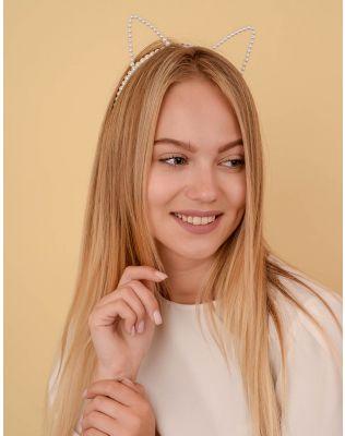 Обідок для волосся із перлин з вушками | 238600-01-XX